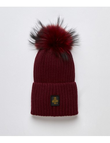 Refrigiwear donna SNOW FLAKE HAT bordeaux cappello pon pon pelliccia cap NUOVO