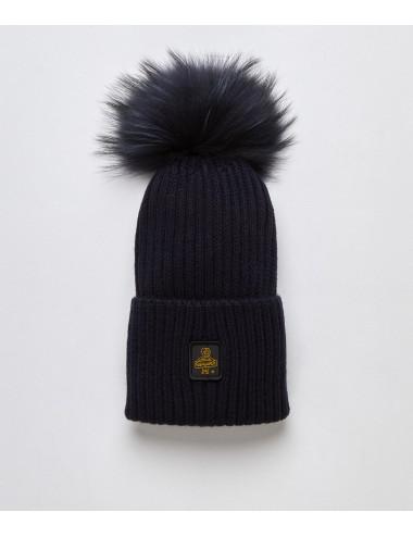 Refrigiwear donna SNOW FLAKE HAT dark blu cappello pon pon pelliccia cap NUOVO