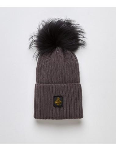Refrigiwear donna SNOW FLAKE HAT grigio cappello pon pon pelliccia cap NUOVO