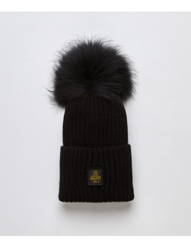 Refrigiwear donna SNOW FLAKE HAT nero cappello pon pon pelliccia cap NUOVO