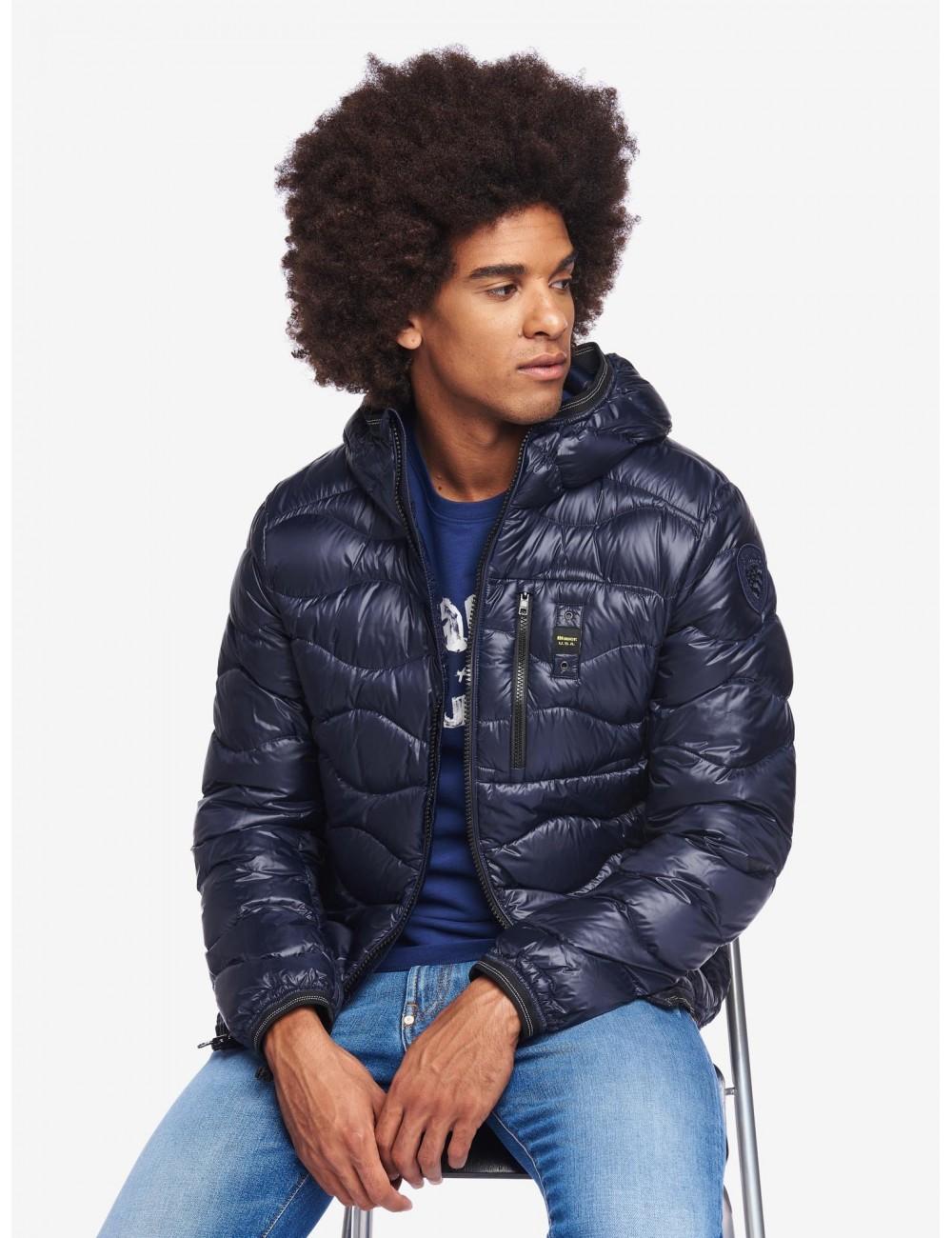 Blauer uomo PIUMINO A ONDE BOOTH 19WBLUC03056 giubbino giacca con cappuccio