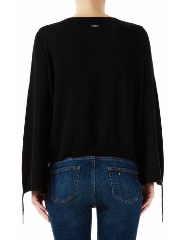 MA0005 MAGLIA donna LIU JO shirt manica lunga vestibilità comoda scollo V nero