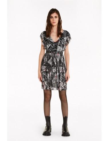 8A0709 ABITO mini con plissè donna Patrizia Pepe vestito vestitino dress shirt