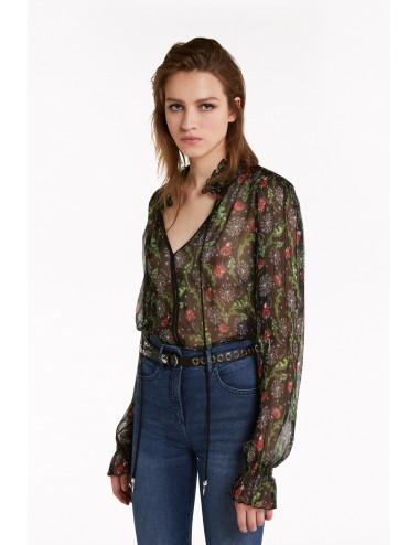 8C0383 CAMICIA Patrizia Pepe blusa shirt stampa floreale maglia woman