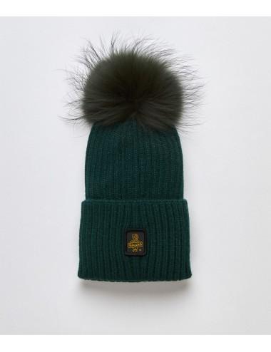 Refrigiwear donna SNOW FLAKE HAT verde cappello pon pon pelliccia cap NUOVO