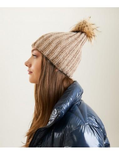 MOORE HAT cammello marrone cappello pon pon REFRIGIWEAR donna cuffia pelliccia
