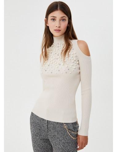 CF0094 X0311 MAGLIA donna LIU JO perle shirt lupetto ecosostenibile collo alto