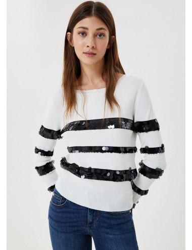 CF0116 Maglia con maxi paillettes LIU JO DONNA shirt maglie manica lunga woman