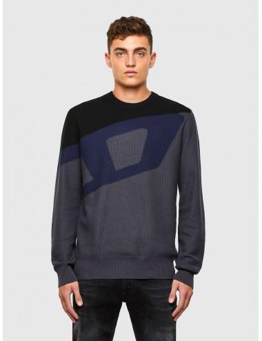 02194 MAGLIA GRIGIO uomo DIESEL Pullover con logo shirt maglione cotone K-ZACK