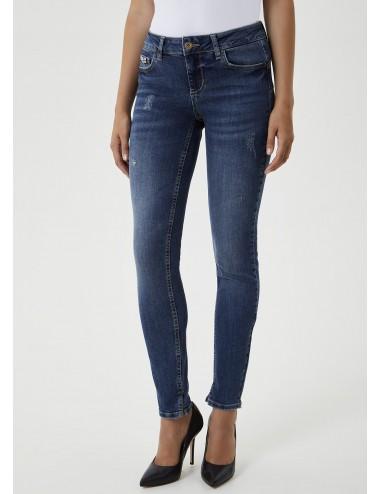 UF0003 JEANS skinny con applicazioni gioiello LIU JO pantaloni pantalone donna