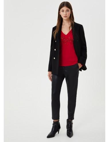 WF0389 91826 T SHIRT donna LIU JO scollo a V maglia maglietta con applicazioni