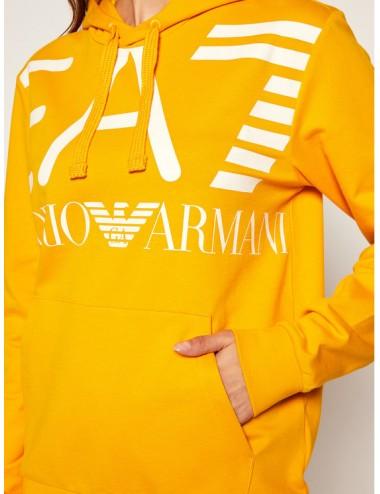 6HPM16 FELPA uomo EA7 Emporio Armani maglia con cappuccio felpe giallo ocra