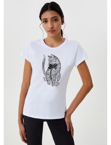 WF0486 T SHIRT DONNA LIU JO T-shirt con stampa glitter WOMAN gatto maglia