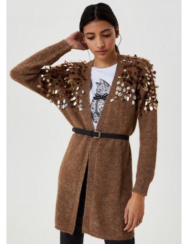 MF0016 MAGLIA aperta + cinta donna LIU JO Cardigan lungo con applicazioni shirt