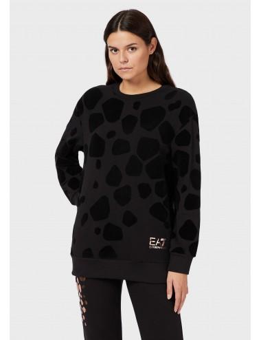 6HTM15 FELPA girocollo in cotone animalier EA7 EMPORIO ARMANI maglia donna shirt
