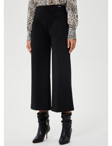 WF0112 PANTALONI LIU JO DONNA Pantalone cropped NERO BLACK PANTS CORTO
