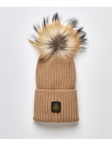 Refrigiwear donna SNOW FLAKE HAT mastice cappello pon pon pelliccia cap NUOVO