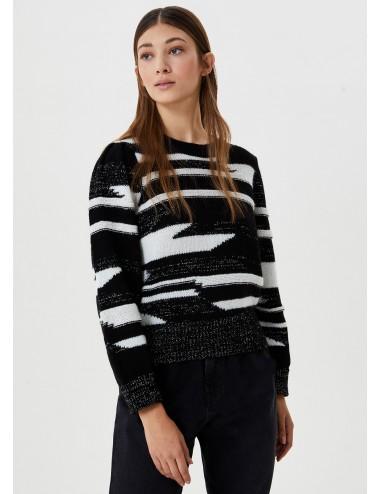 8F0006 MAGLIA donna LIU JO pullover zebrato maglione shirt woman girocollo