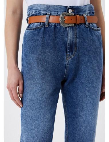 UA1072 D4623 JEANS vita alta con cintura LIU JO donna denim pantalone pantaloni