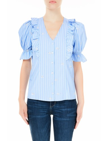 WA1504 T4826 CAMICIA DONNA LIU JO IN COTONE MANICA CORTA RIGHE BLUSA SHIRT WOMAN