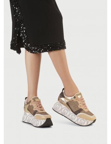 BA1085 TX187 ORO Sneakers maxi platform LIU JO donna scarpe scarpa scarpetta