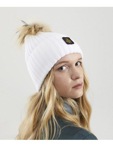Refrigiwear donna SNOW FLAKE HAT BIANCO cappello pon pon pelliccia cap NUOVO