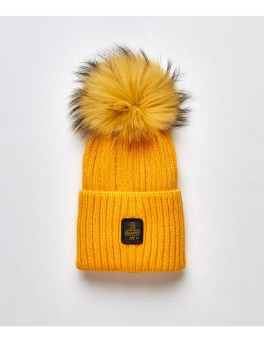 Refrigiwear donna SNOW FLAKE HAT OCRA cappello pon pon pelliccia cap NUOVO