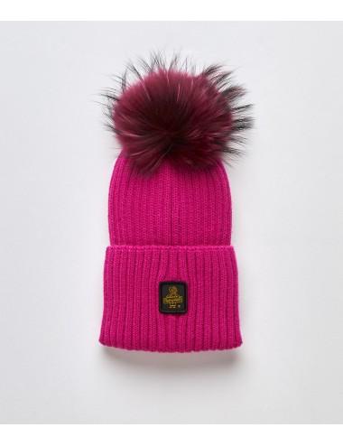 Refrigiwear donna SNOW FLAKE FUXIA verde cappello pon pon pelliccia cap NUOVO